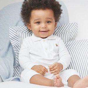 Ralph Lauren Button Up White Onesie